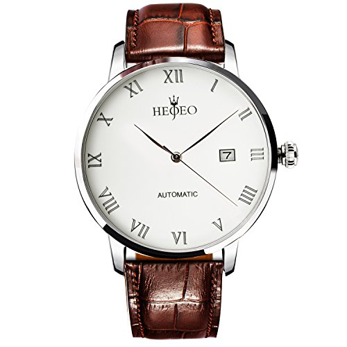 Men's Fashion Wrist Watches Automatic Mechanical Casual Watch Stainless Steel with Brown Leather Band White Dial by HEOJEO