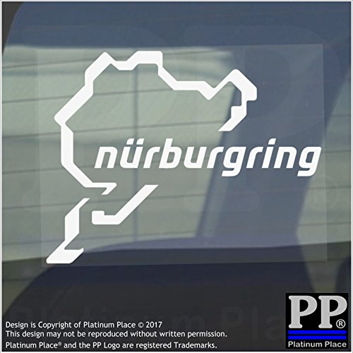 Autocollants pour fenêtres de voiture et de van Nurburgring - Race, Racing, Track, F1, F4, M3, M4, Racer, Turbo, Driver, Driving, V8, GTI, R, GTR, Drag, Strip, Course – 112 mm x 87 mm