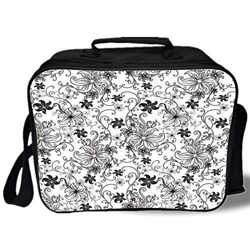 Floral 3D Print Insulated Lunch Bag,Flowers Leaves Twirled Swirls Buds Ethnic Nature Romantic Design Artwork Print,for Work/School/Picnic,Black and White