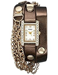XOXO Women's XO5630 Metallic Brown Band with Chains Accent Double Wrap Watch