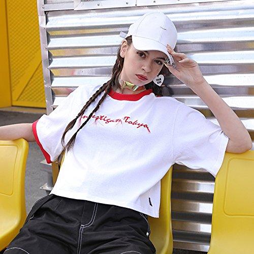 Col Été Fuite Zpd T Manteau Blanc Couleur Manches shirt Et Courtes Rond Rouge Femme À Épaule Lettre Hit wxAR6xY