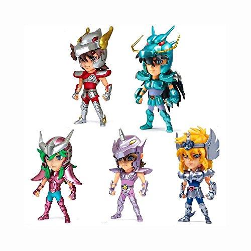 5PCS/Set 9cm Mini PVC Action Anime Figures Saint Seiya Myth Cloth Shiryu Shun Hyoga Jabu Seiya Dolls Model Toys For Children