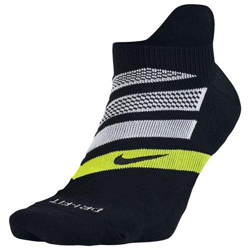 Men's Nike Performance Cushion No-Show Running Sock Black/Volt/White Size Large