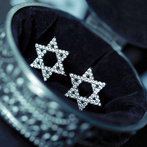 usongs Star David earrings fashion zircon Micro Pave earrings ear jewelry clothing accessories women hexagram
