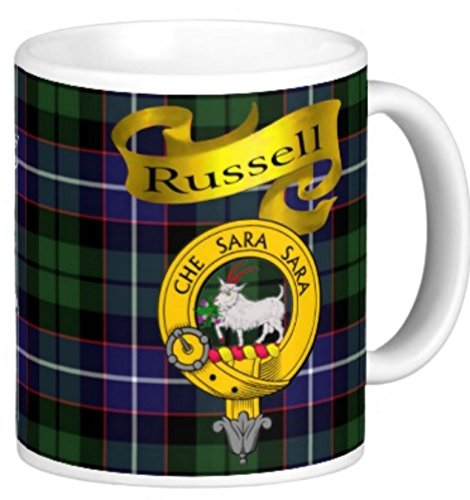 Russell Ceramic Mug (Scottish Clan Russell on 11 Oz. Ceramic Coffee Mug Clan crest on both)
