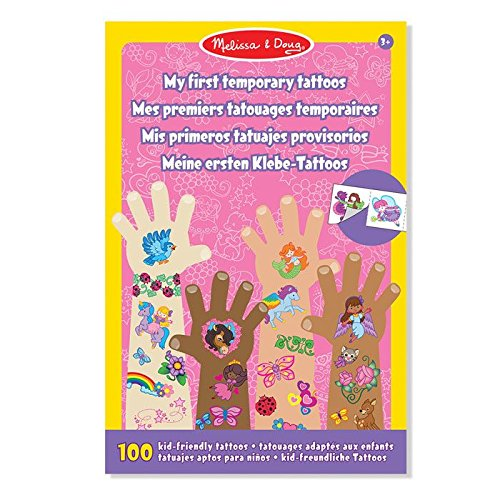 Melissa & Doug My First Temporary Tattoos: 100+ Kid-Friendly Tattoos - Rainbows, Fairies, Flowers, and More (Peel Apple Body Green)