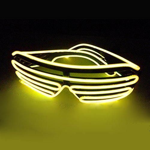 SOCU LED Glasses Light Up Shutter Shaped Sunglasses Glow in Dark Rave Costume Party, Yellow