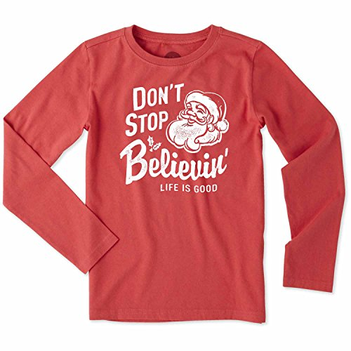 It's A Good Life Life Is Good Kids Girl's Don't Stop Believin' Santa Long Sleeve Crusher Tee (Little Kids/Big Kids) Americana Red Medium