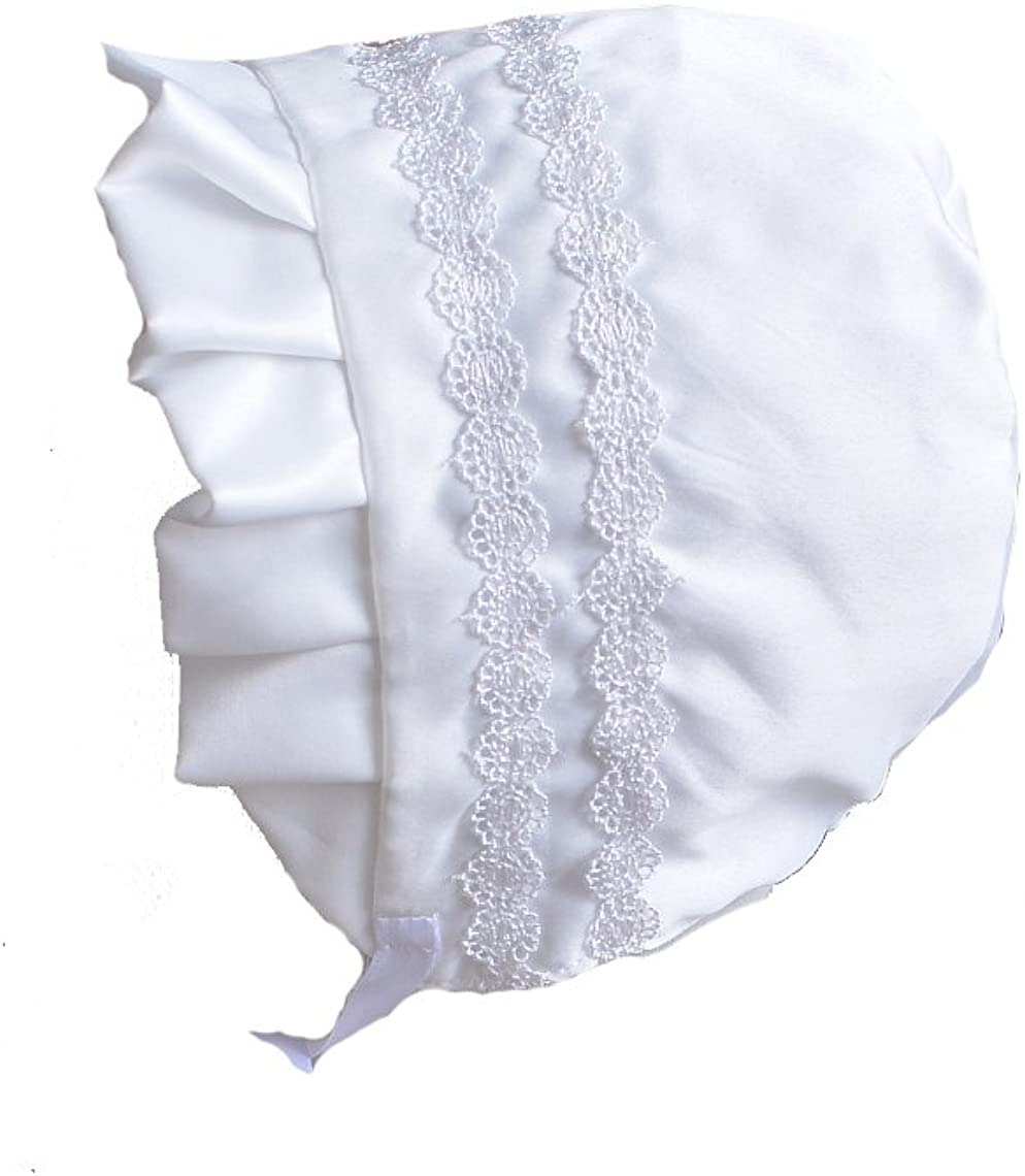 Cinda Traditional Baby Satin Christening Gown and Bonnet