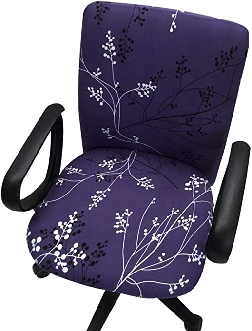 Dreamseeker Computer Office Chair Covers Cotton Stretch Rotating Chair Slipcover, Universal One-Piece Chair Cover Print Desk Task Chair Chair Covers