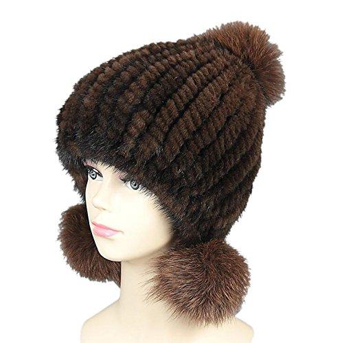 d3a1810104a20 Easting Women s Warm Mink Fur Knitted Ear Flap Ski Hat with Fox Fur Pom Poms  (