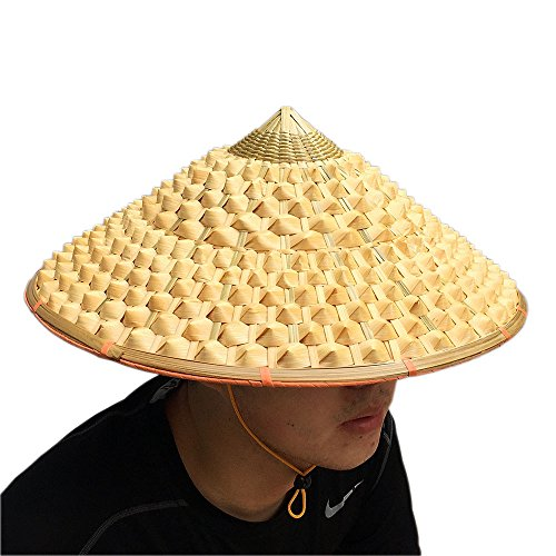 Sunnyhill(TM) Chinese Oriental Bamboo Straw Cone Garden Fishing Hat Adult Rice Hat (Style 1) -