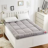 YQ WHJB Foldable Mattress Pads,Tatami Mattress,Thicken Hotel Solid Color Overfilled Soft Non-Slip Quilted Mattress Protector-Gray 150x200cm(59x79inch)