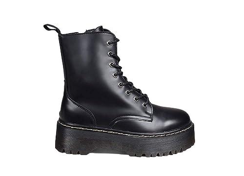 Bosanova Botas Estilo Militar con Plataforma y Cordones a Conjunto para Mujer, Negro, Burdeos, Blanco, 36-41 EU: Amazon.es: Zapatos y complementos