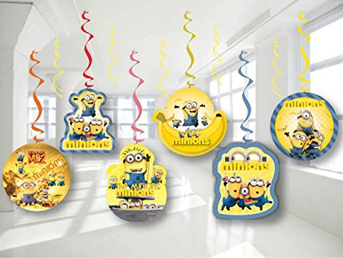 Minion Decoration Ideas (Despicable Me Minion Birthday Party Decor, Hanging Decoration Swirls, Package of 12 Assorted)