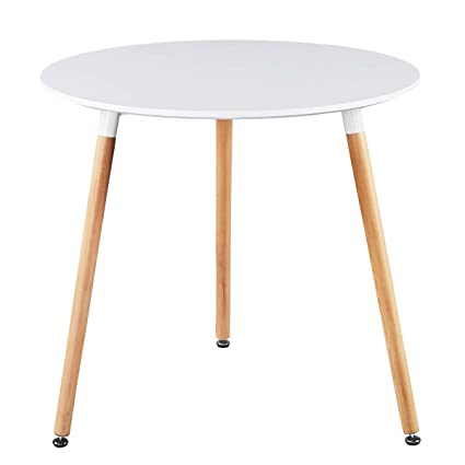 03aef5d8216f Amazon.com  GreenForest Dining Table White Modern Round Table with Wood  Legs for Kitchen Living Room Leisure Pedestal Table  Kitchen   Dining