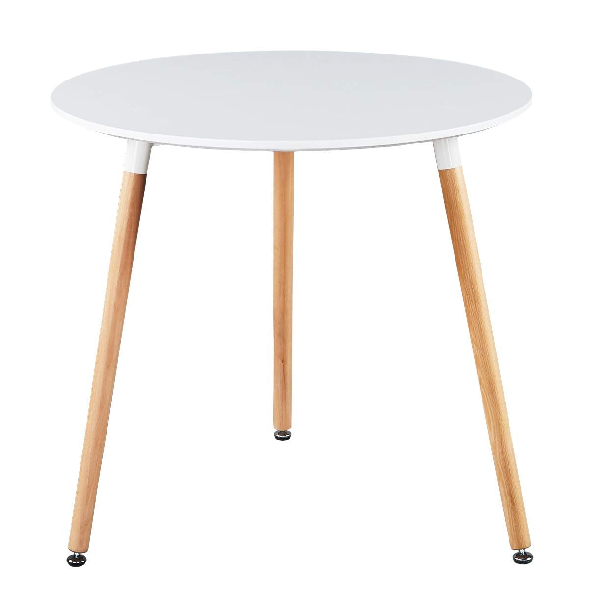 GreenForest Dining Table White Modern Round Table with Wood Legs for Kitchen Living Room Leisure Coffee Table