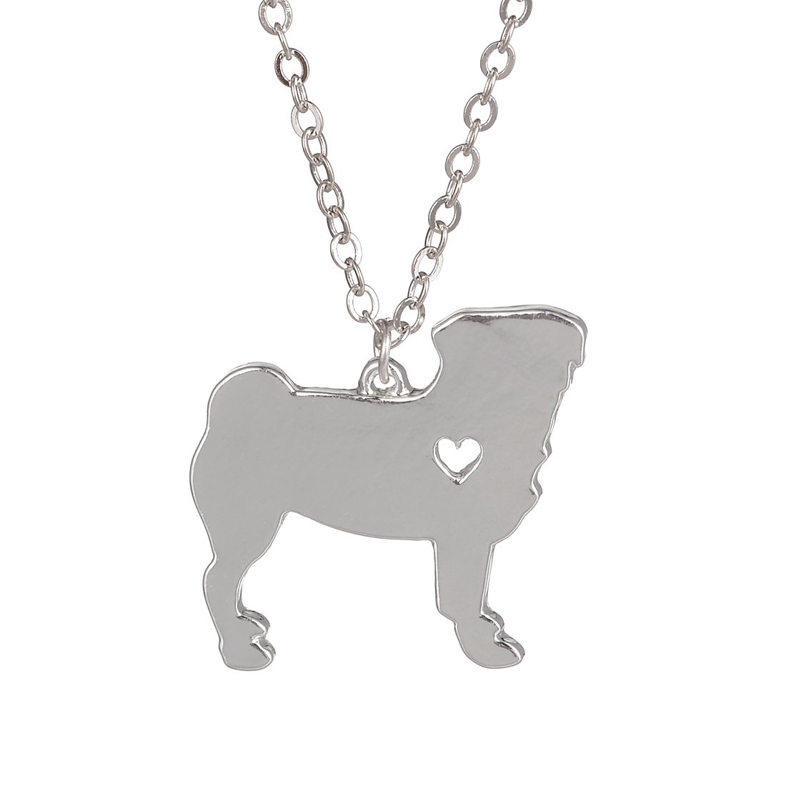 Silver Pug Necklace Dog Pendant Jewelry Breed Pet Jewelry Memorial Gift Hunters lovers