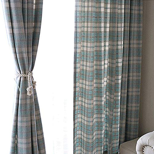 KALENDS Thermal Insulated British Style Plaid Grommet Curtains for Living Room Bedroom Window Treatment – 52″ W x 63″ L – (2 Panels) For Sale