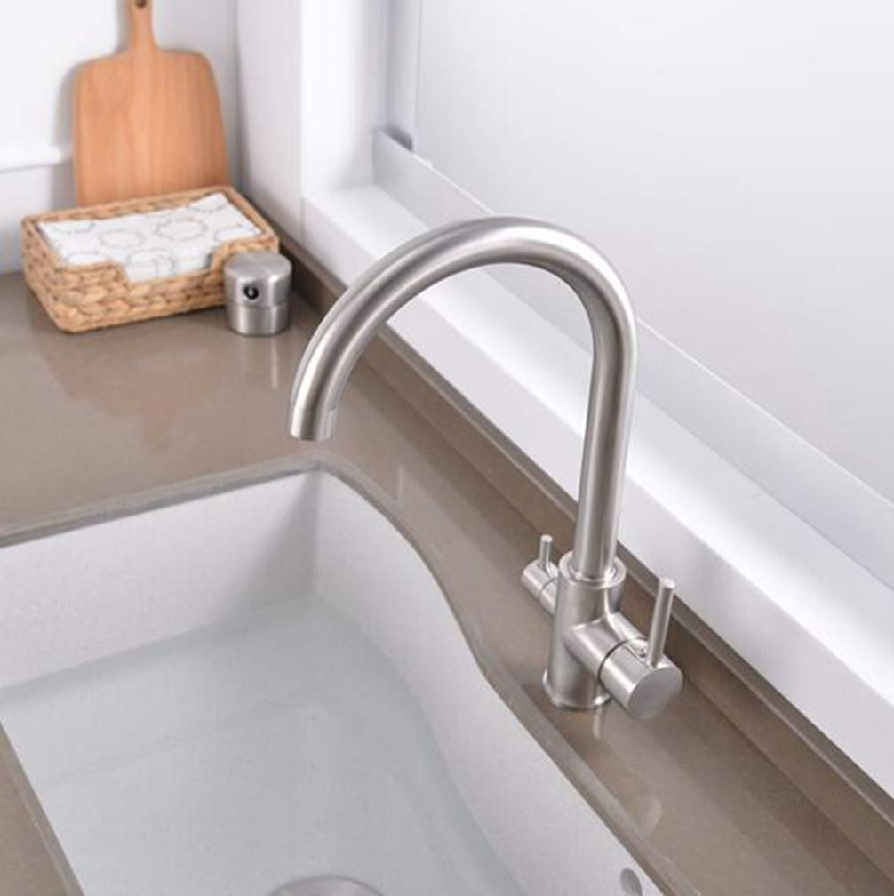 Brushed Nickel FZHLR Black Beige Brushed Nickel Kitchen Faucets Waterful Taps Kitchen Faucets Mixer Drinking Water Filter Faucet Kitchen Sink Tap Water Tap,Beige