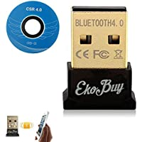 EkoBuy® Bluetooth 4.0 USB Dongle Adapter for PC with Gold Plated USB, Bluetooth Transmitter and Receiver For Windows 10/8.1/8 / 7 / Vista - Plug and Play on Windows 10