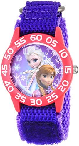 Disney Kids' W001789 Frozen Elsa and Anna Watch, Purple Nylon Band