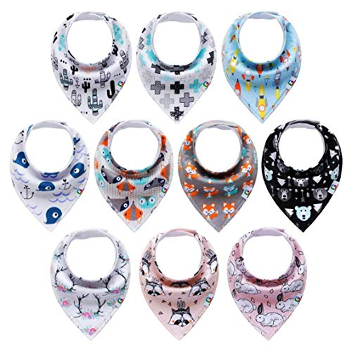 10-Pack Baby Bandana Drool Bibs set for Drooling Boys & Girls Upsimples Teething,100% Organic Cotton Super Absorbent, Hypoallergenic and Shower Gift Set.