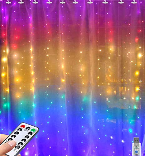 Rainbow Curtain Lights Greenke LED Curtain Lights Waterproof Fairy Lights Remote Timer Icicle Lights 8 Modes Twinkle Lights for Christmas, Party, Wedding, Bedroom Wall Decoration (7-Color)