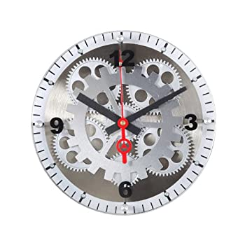 Maples 10-Inch Moving Gear Wall Clock, Glass Cover