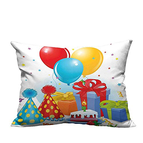 YouXianHome Modern Fashion Cushion Cover Slice of Strawberry Pie Party Set Up with Hats Balloons Presents Stars Multicolor Resists Dust Mites(Double-Sided Printing) 19.5x30 inch