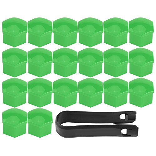 (20Pcs Universal Wheel Tyre Hub Covers Lug Nut Bolt Cap Covers Nut Protector Cap Muilti Color Optional (Green))