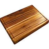 Large Teak Wood Cutting Board - Chopping Block and Hardwood Carving Board Reversible with Juice Groove (17x11x1 Inches)