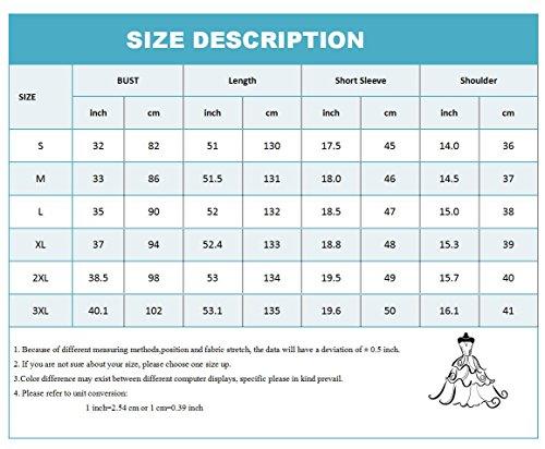 Floral S de Estampado OMZIN Largo 3XL Manga Largas Corta Negro para Mujer Imperio con Vestido Manga wfxq8CU
