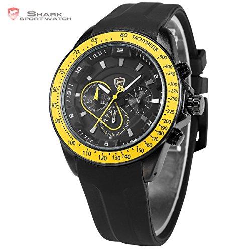 Shark SH281-US2 Men's Black Yellow Chronograph Silicon Rubber Band Analog Quartz Sport Watch
