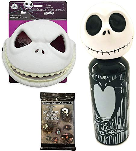 King Jack Mask NBC Nightmare Before Christmas Pack Aluminum Water Bottle Figure Head + Dress Up Jack Skellington Skull Mask with Movie Trading Cards Bundle