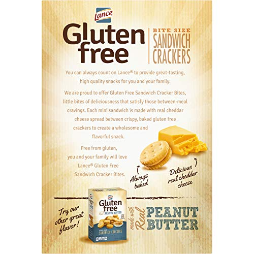 Lance Gluten Free Sandwich Crackers, Cheddar Cheese Bite Sized, 5 Ounce