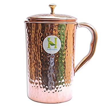 Pure Copper Hammered Water Jug   Copper Pitcher for Ayurveda Health Benefit by HealthGoodsIn™