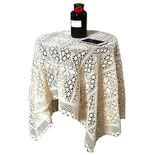 Crocheted Topper - Wildgirl Pastoral Table Topper Slipcover Crocheted Hollow Lace Tablecloth Round (60cm)
