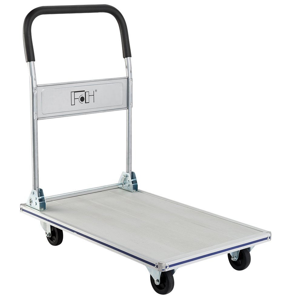 FCH Aluminum Folding Platform Truck Heavy Duty Moving Platform Cart Dolly Push Cart for Home/Warehouse/Office Use,660LBS