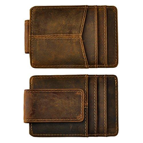 (Le'aokuu Mens Genuine Leather Cowhide Clip Credit Card Case Handy Slim Wallet Magnet (A Dark Brown))