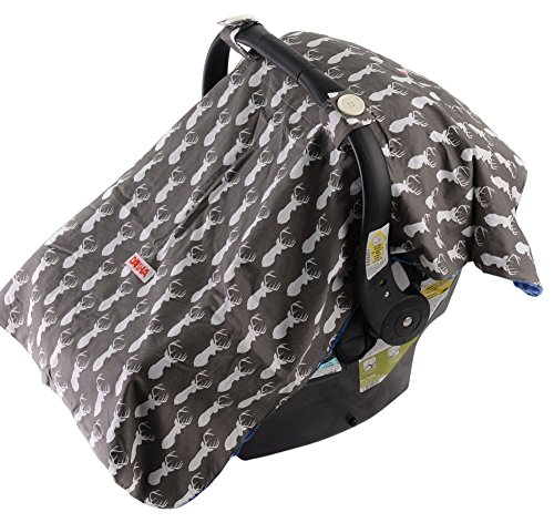 Baby Car Seat Cover For Boys By Danha – Carseat Canopy – Gray Color With Deer Head Pattern – Can Be Used As Nursing Cover, Blanket And Changing Pad