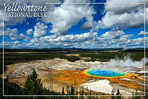 Yellowstone National Park - Grand Prismatic Pool (12x18 Art Print, Wall Decor Travel Poster)