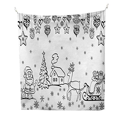 Anshesix Christmas Big Tapestry Tree Ornaments with Santa Sleigh Rudolph Reindeer Toys Jingle Bells Image Simple Tapestry 70W x 93L INCHBlack and White