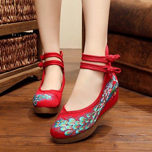 GuiXinWeiHeng xiuhuaxie Zapatos bordados, lino, lenguado del tend¨®n, estilo ¨¦tnico, zapatos femeninos aumentados, manera, c¨®modo, ocasional red