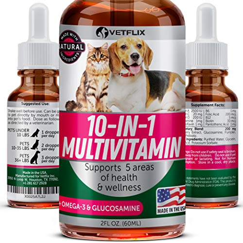 Cat Joint Health Supplement - VETFLIX Pet Vitamins 10 in 1 - Made in USA - Glucosamine For Dogs & Cats - Dog Supplement for Pet Joint Health - Natural Cat & Dog Multivitamin - All Ages & Breeds - Folic Acid For Cats & Dogs Immune