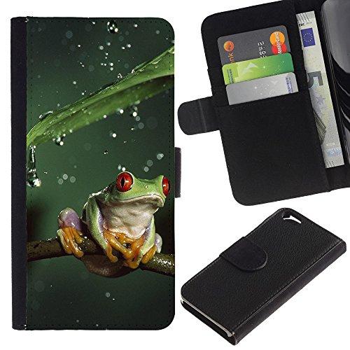 EuroCase - Apple Iphone 6 4.7 - Cool Jungle Frog & Rain - Cuir PU Coverture Shell Armure Coque Coq Cas Etui Housse Case Cover
