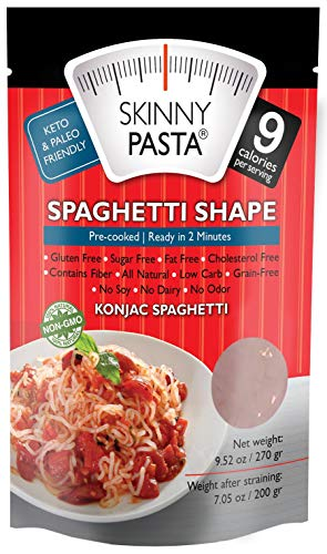 Skinny Pasta 9.52 oz - The Only Odor Free 100% Konjac Noodle (Shirataki Noodles) - Pasta Weight loss - Low Calorie Food - Healthy Diet Pasta - Spaghetti - 6-Pack (Best Frozen Lasagna Costco)
