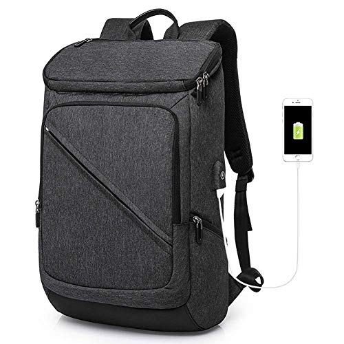 YEXIN Anti-Theft Backpack,Business Laptop Backpack with USB Charging Port Daypack Fits 17.3 Inch Computer Notebook Rucksack for Work, College (Color : Black) from YEXIN