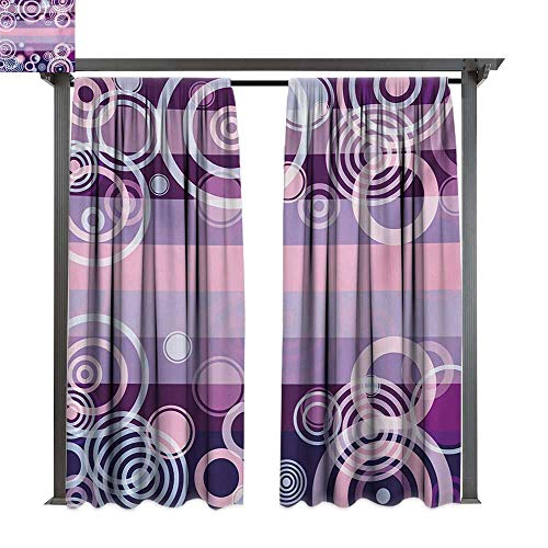 Bold Border Big (bybyhome Home Patio Outdoor Curtain Geometric Circles Rounds Bold Borders in Middle 70s 80s Vintage Design W120 xL84 Suitable for Front Porch,pergola,Cabana,Covered Patio)