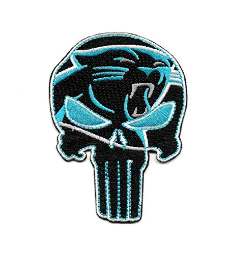 Panthers Punisher Skull Embroidered Patch - Iron On by USMilitaryPatch